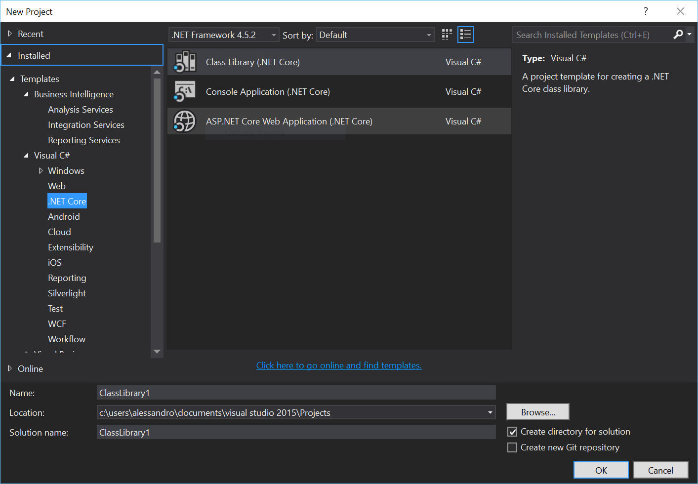 Visual STudio 2015 new .NET Core project